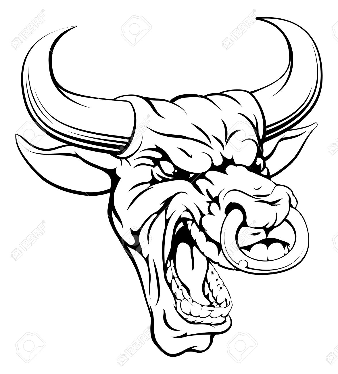 1176x1300 A Drawing Of A Mean Angry Looking Bull Mascot Face Royalty Free