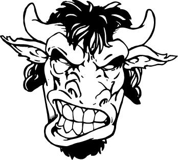 348x312 Buffalo Head Mascot Decal Sticker Hd4