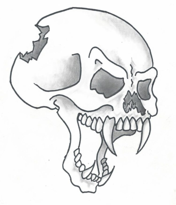 750x873 Coloring How To Draw Cool Skull On Firelso How To Draw