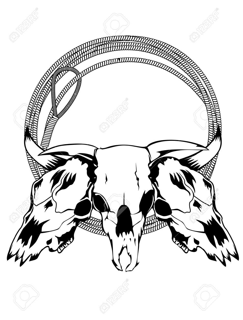 990x1300 Drawn Bulls Bull Skull