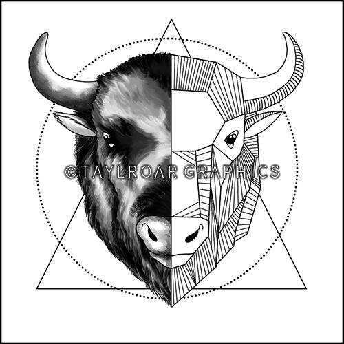 500x500 Full Geometric Buffalo Head Custom Tattoo Design. Www