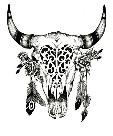 382x460 Pin By Tunderbird On Skulls Bull Skulls, Tattoo