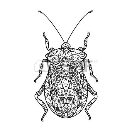 450x450 Bug Vector Illustration In Style. Contour Drawing. Illustration