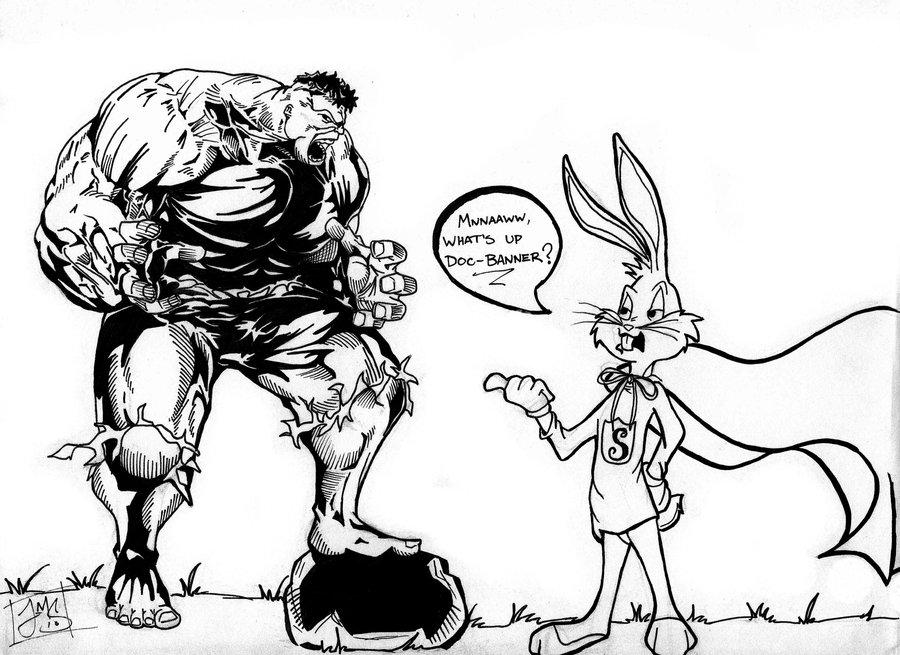 900x655 Hulk Vs Bugs Bunny By Thewarsh