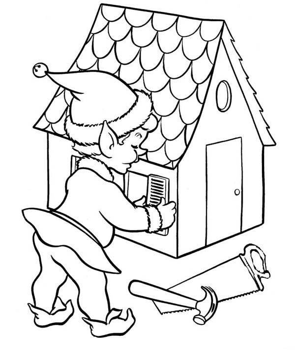 600x734 Christmas Elf Building A House Coloring Page Color Luna