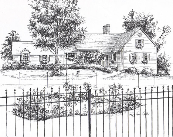 570x453 Custom House Drawing In Ink Architectural Sketch Of Your