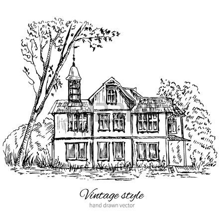 450x450 Vintage Tile Old European House, Vector Engraving Sketch Mansion