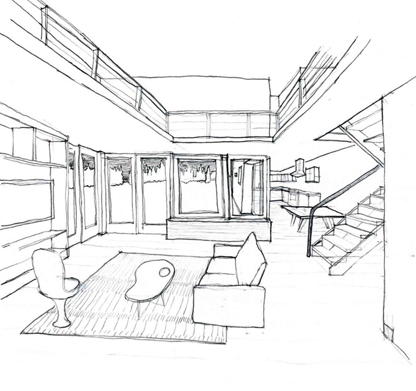 816x768 Drawing Of One Perspective Interior