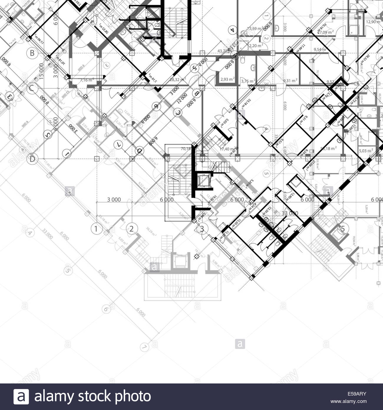 1300x1390 Architectural Black And White Background With Plans Of Building
