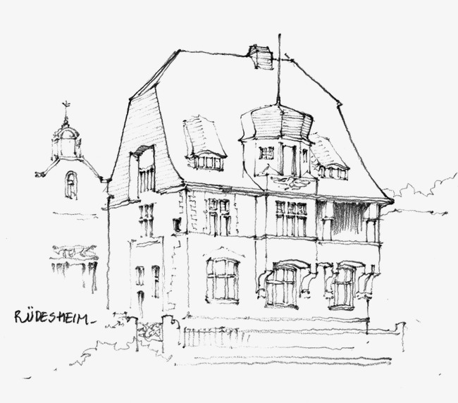 650x572 Architectural Sketches, Building, Hand Painted, Line Drawing Png