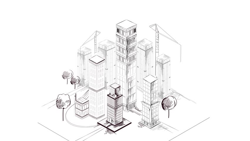 852x480 Isometric City Building Animated Skyscraper Architecture Blueprint