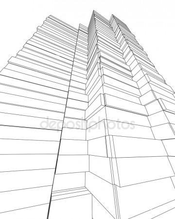 360x450 Office Building Architectural Drawing Sketch Stock Photo
