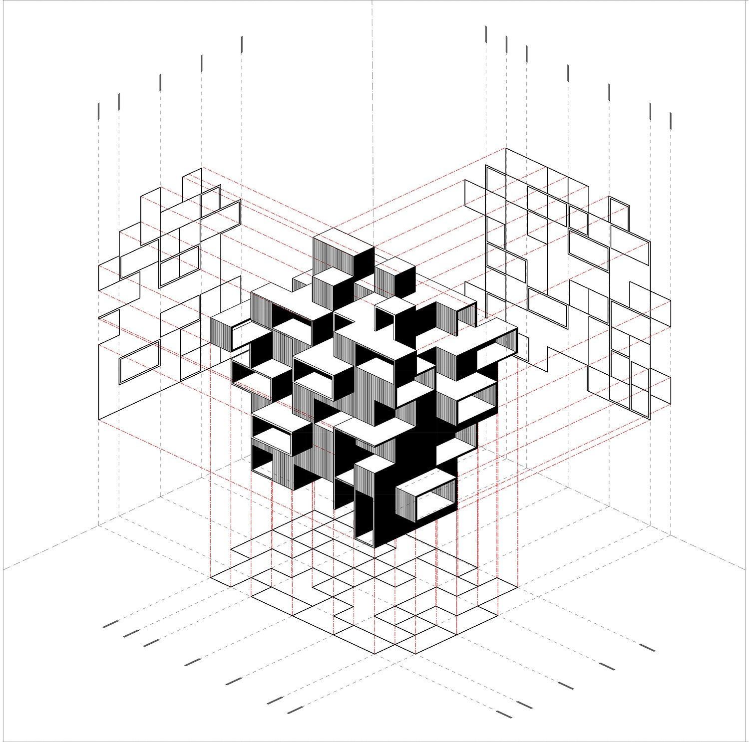 1500x1487 Building Blocks Orthographic Projection Composite Archilibs