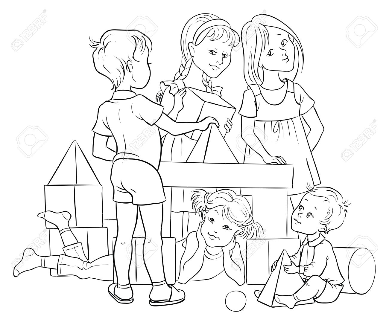 1300x1087 Children Playing With Building Colorful Blocks. Colouring Page