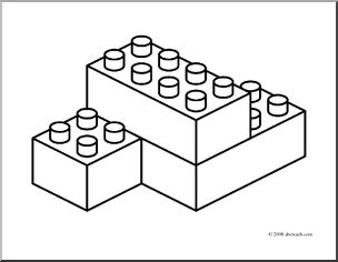 304x236 Clip Art Building Blocks (Coloring Page) I Abcteach