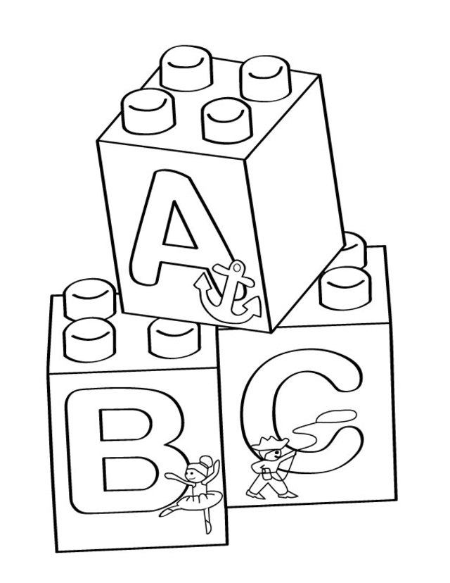 640x828 Lego A B C Blocks Coloring Page