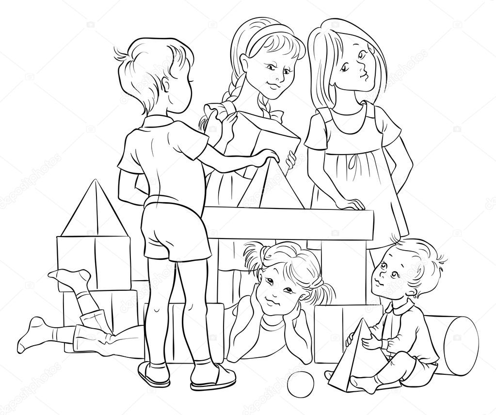1023x856 Outlined. Children Playing With Building Colorful Blocks Stock