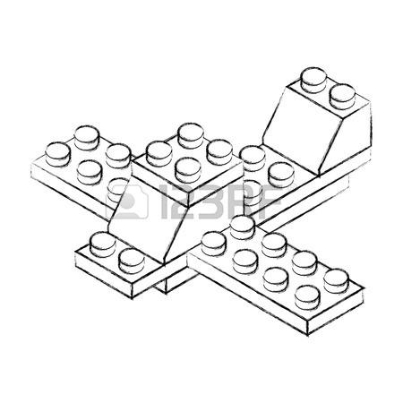 450x450 Sketch Draw Airplane Toy Building Block Bricks Vector Royalty Free
