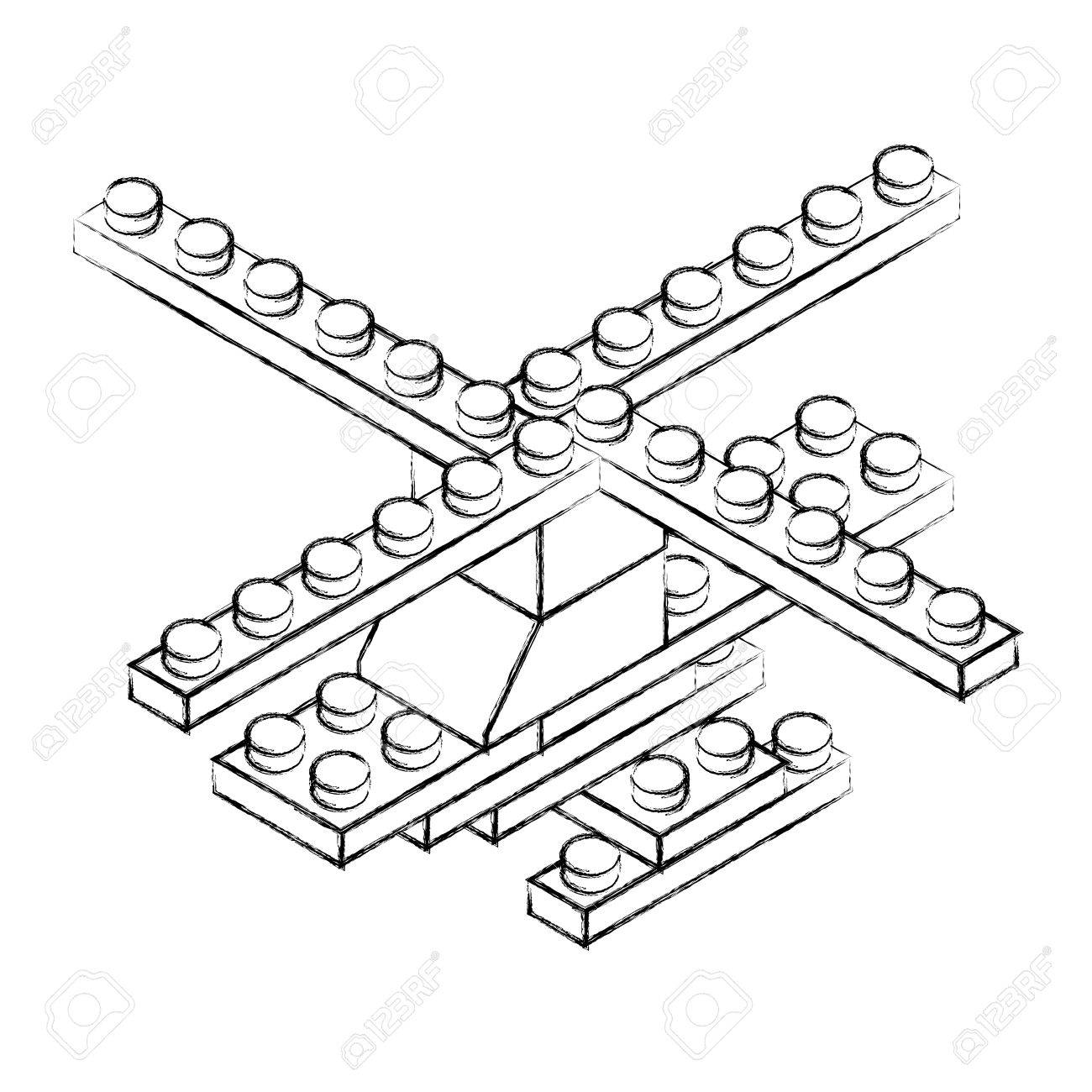 1300x1300 Sketch Draw Helicopter Toy Building Block Bricks Graphic Design