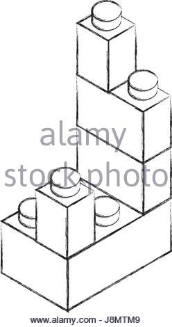 248x470 Sketch Draw Toy Building Block Bricks Stock Vector Art