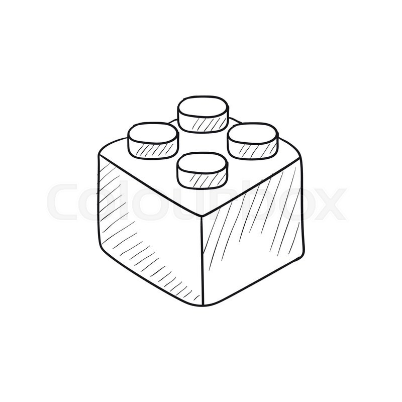 800x800 Building Block Vector Sketch Icon Isolated On Background. Hand