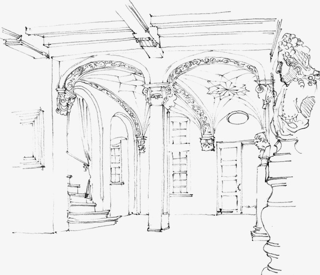 650x558 Architectural Sketches, Building, Hand Painted, Line Drawing Png