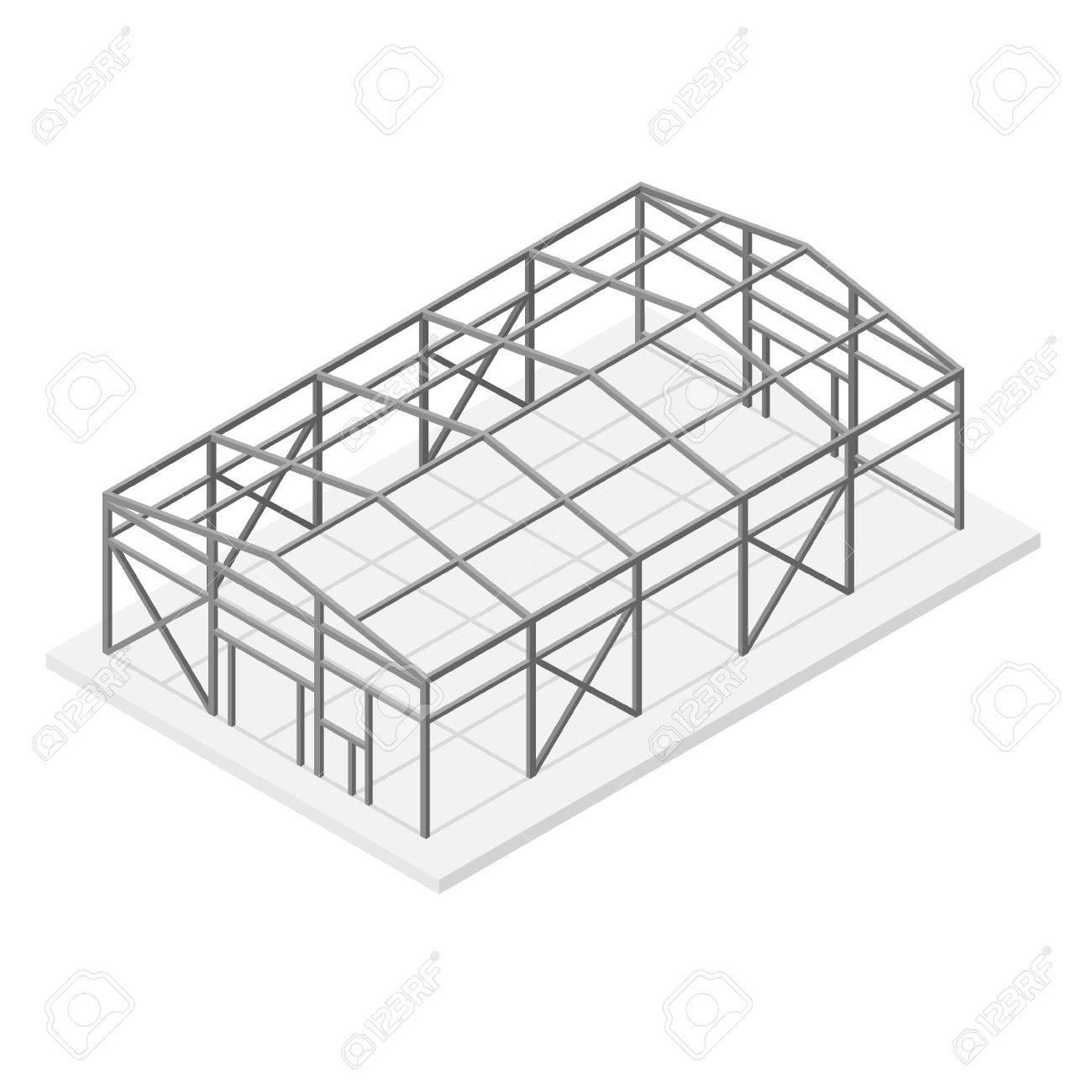 1300x1300 Building Hangar Or Warehouse Metal Construction Frame Roof