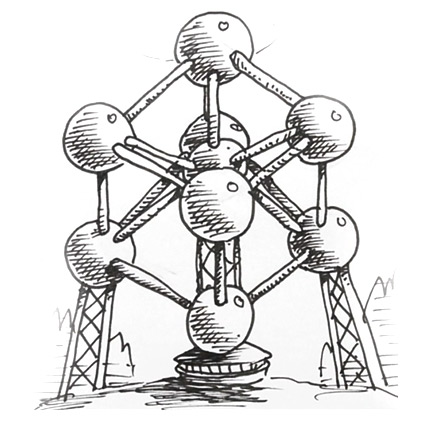 424x425 How To Draw The Atomium Building In Brussels Shoo Rayner Author