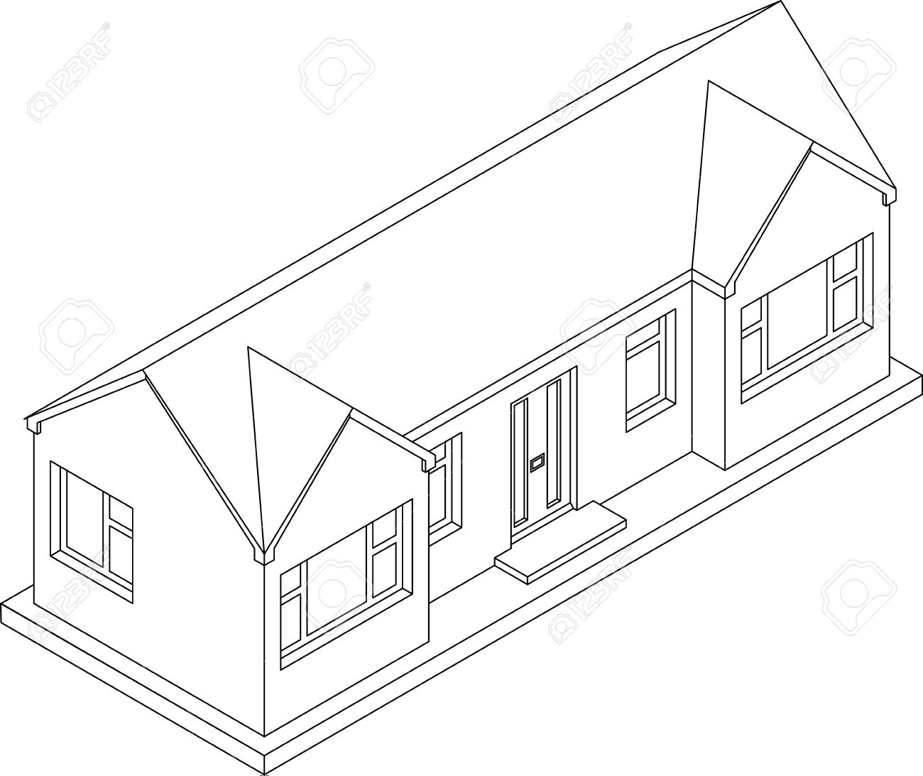 Superb 1300x1092 3d Isometric Line Drawing Of A Double Fronted Single Story House
