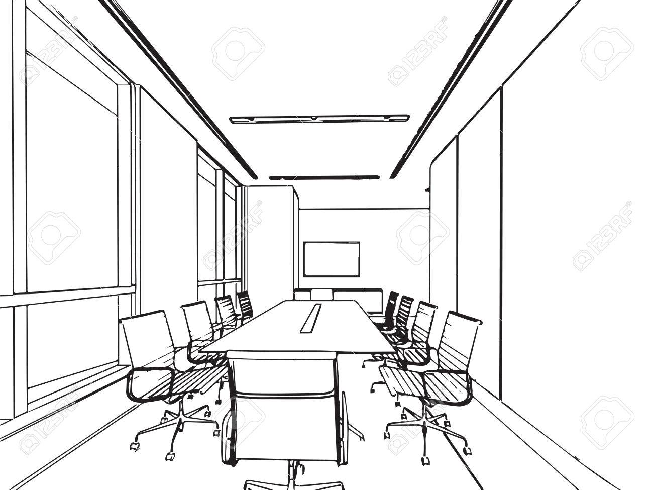 1300x975 Interior Outline Sketch Drawing Perspective Of A Space Office