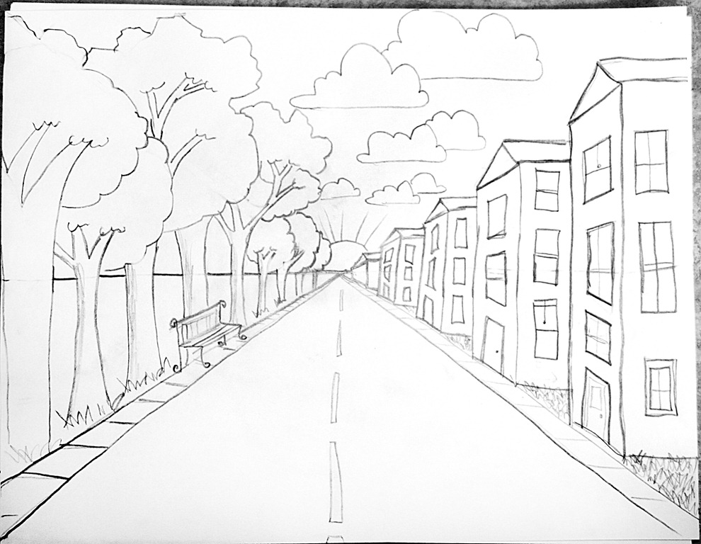 990x768 One Point Perspective Lesson Step By Step Drawing I