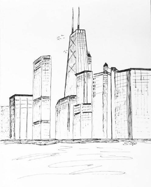496x616 City Drawing Chicago Skyline Chicago Print Urban Sketch