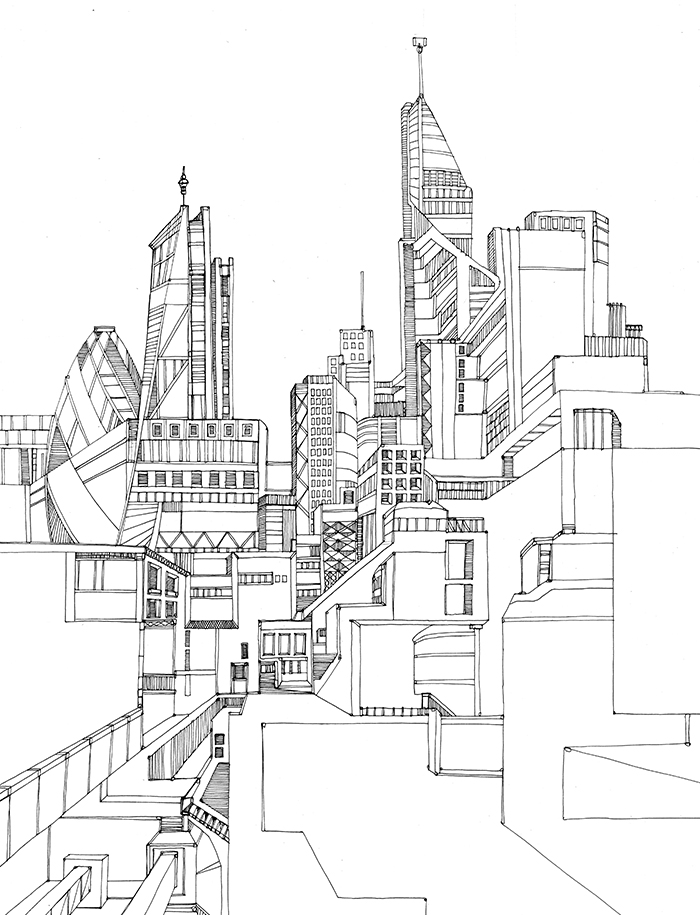 700x915 Altered View Of London Drawings Arquitectura Din A3