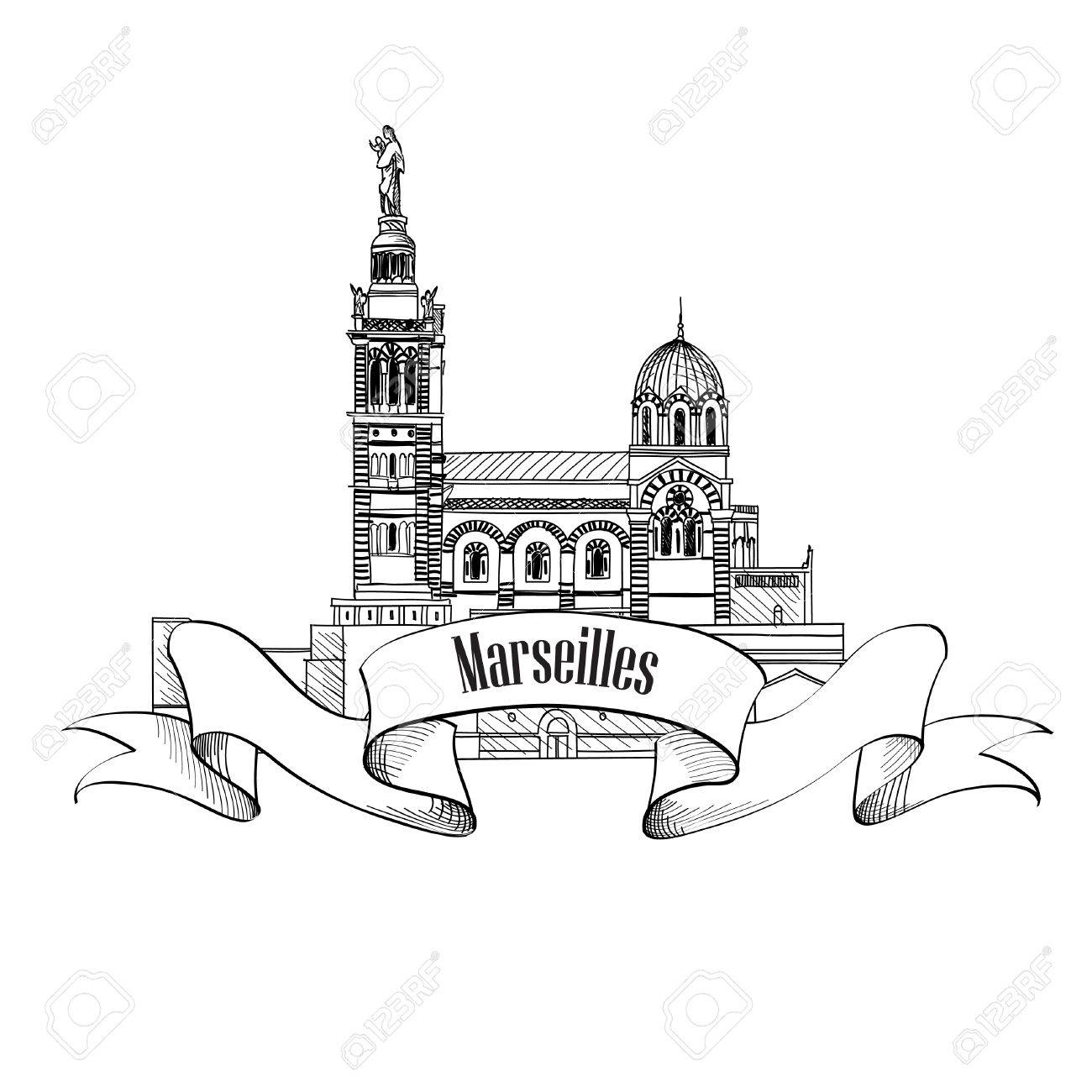 1300x1300 Marseille Landmark City Famoud Building Vector Symbol Travel