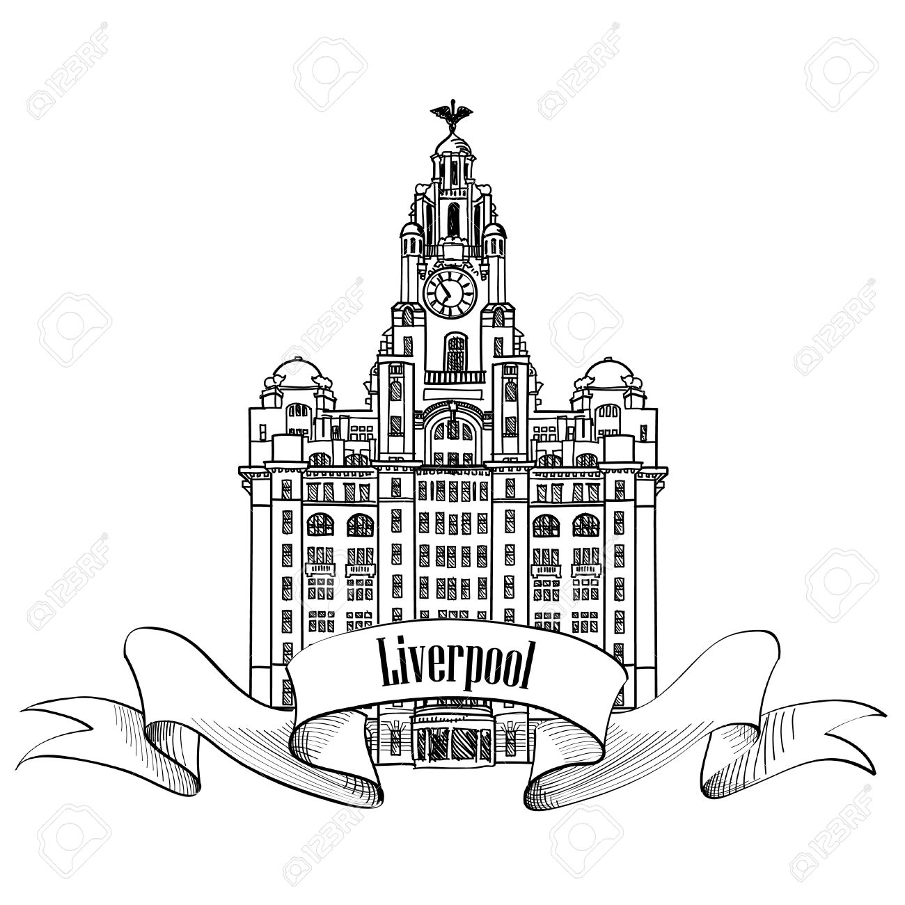 1300x1300 Travel England Sign. Liverpool Liver Building, Uk, Great Britan