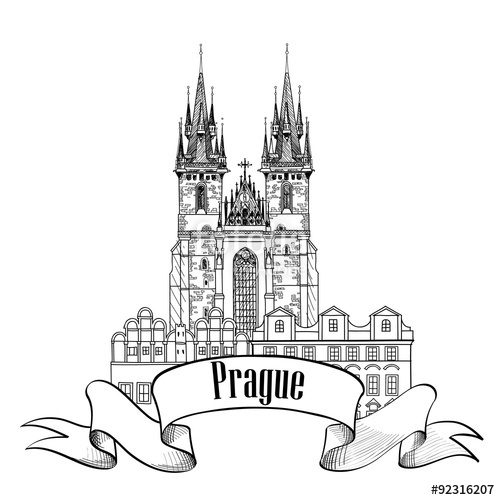 500x500 Tyn Church In Prague. Famous Architectural Building Sketch. Travel