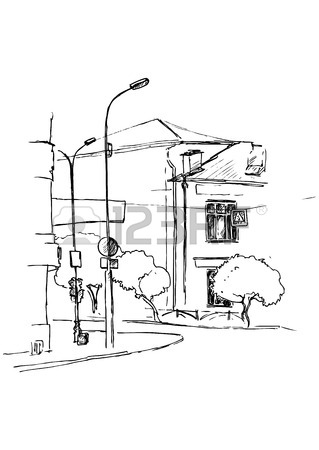 319x450 Urban Sketch, City Street With Buildings, Street Lamps And Trees