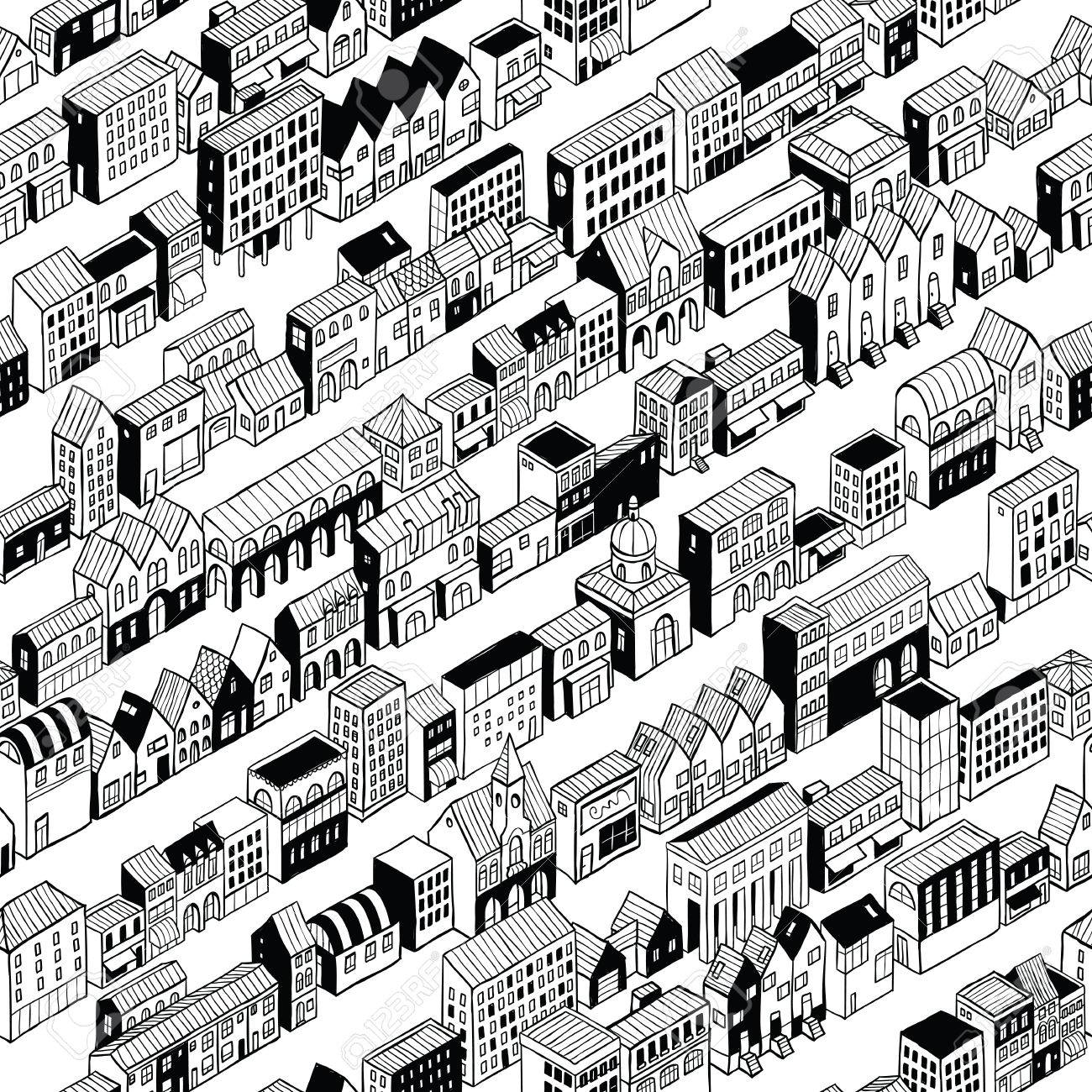 1300x1300 Row City Seamless Pattern Is Isometric Doodle Drawing, A String