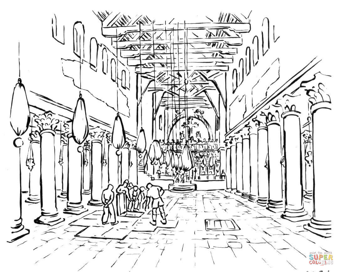 1085x869 The Early Christian Basilica Coloring Page Free Printable