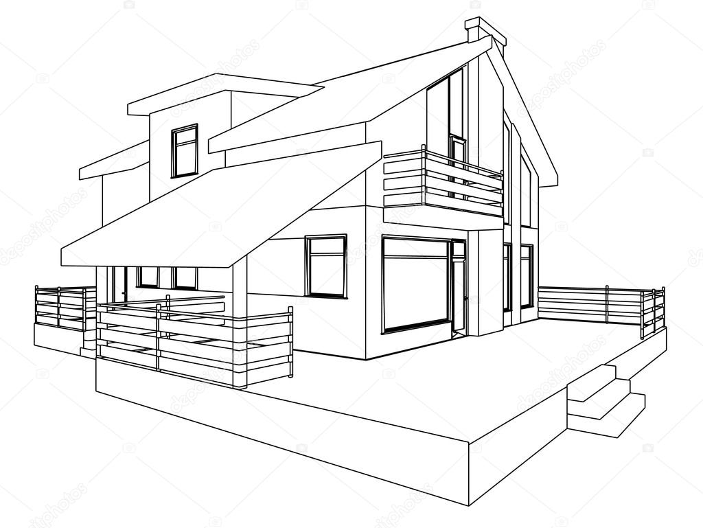 1024x769 The Drawing Of The Building Stock Vector Slim3d1