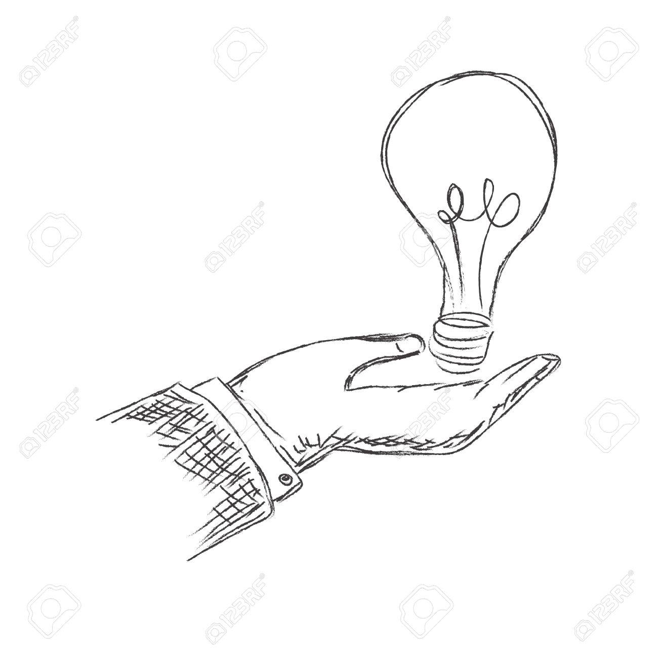 1300x1300 Hand Holding Light Bulb, Sketch, Vector, Illustration Royalty Free