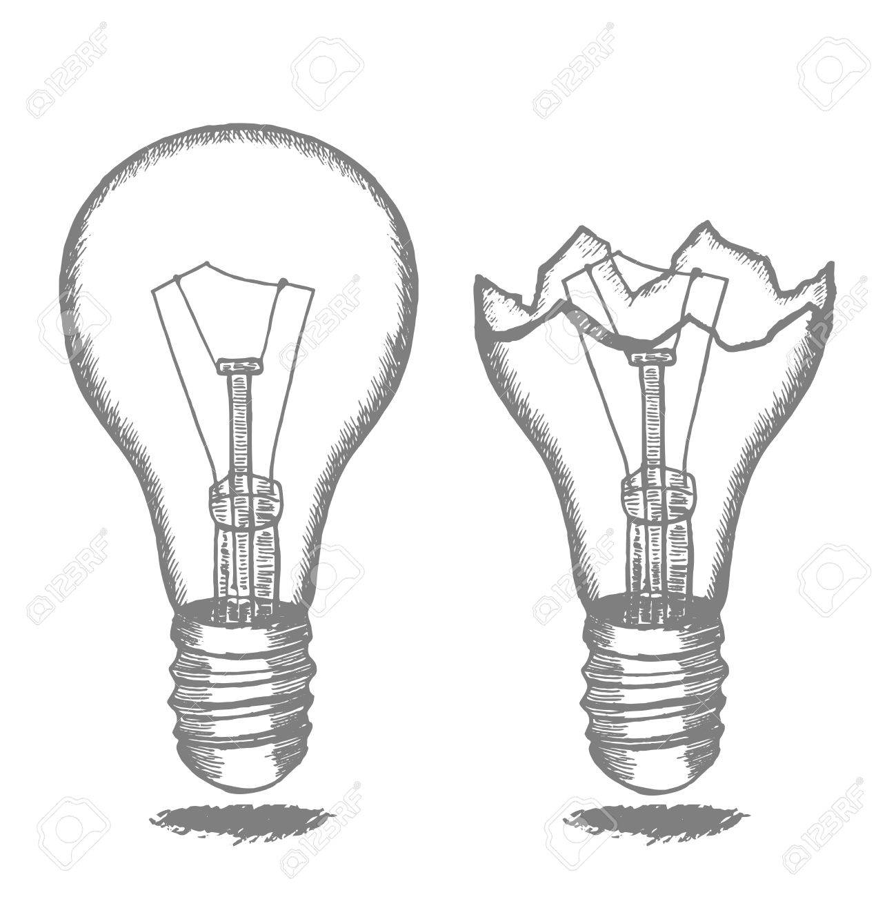 1299x1300 Lamp Bulb Hand Draw Sketch. Vector Royalty Free Cliparts, Vectors