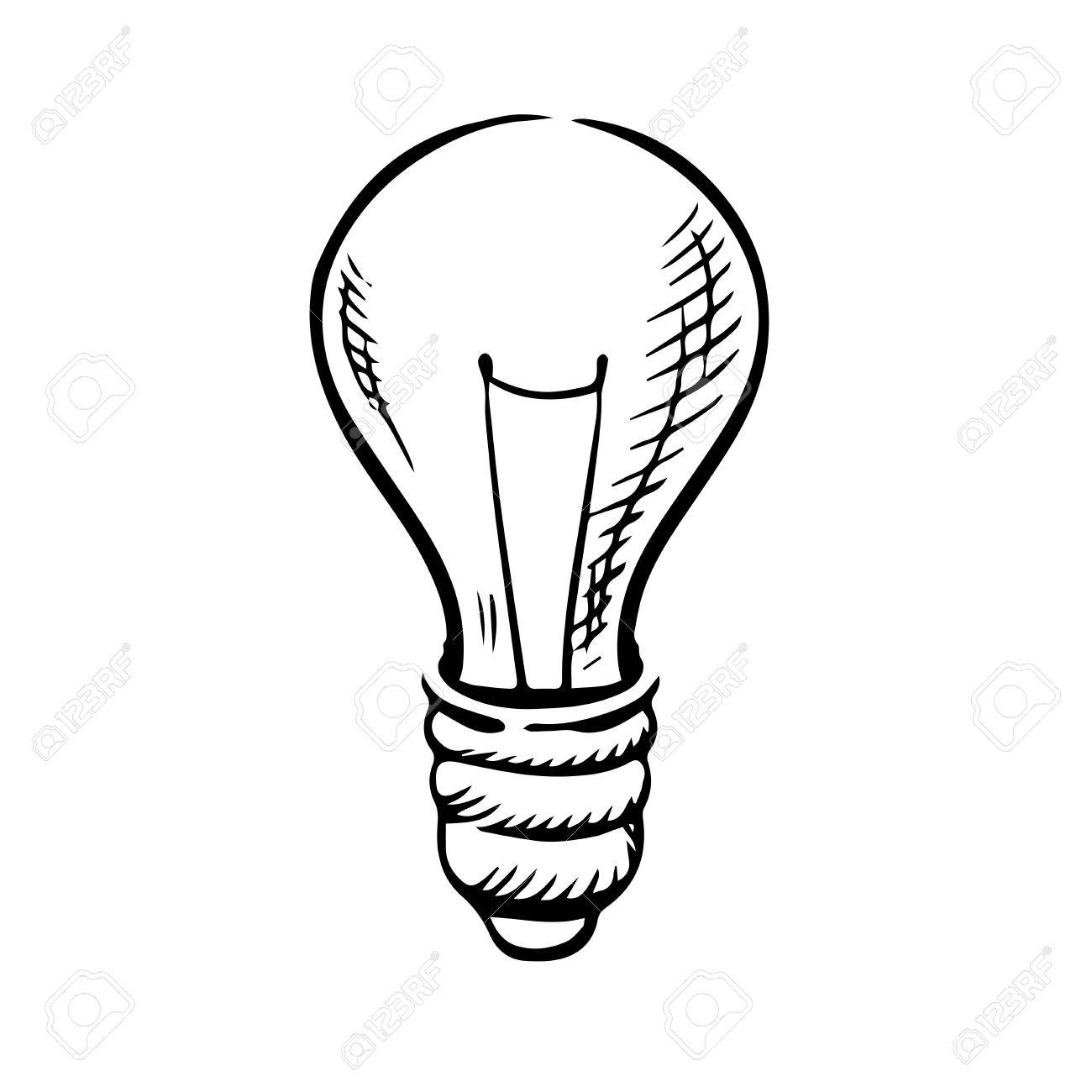 1300x1300 Light Bulb Icon In Sketch Style For Idea Concept Theme. Hand