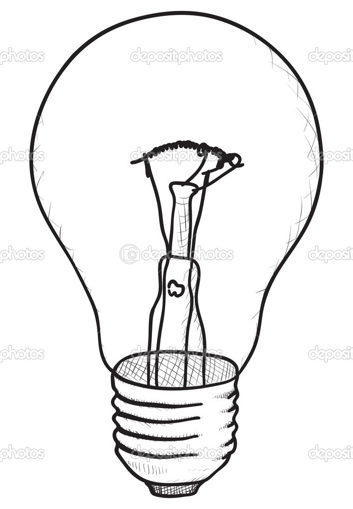 711x1024 Light Bulb Technical Drawing Simple Vector Sketch Silkscreen
