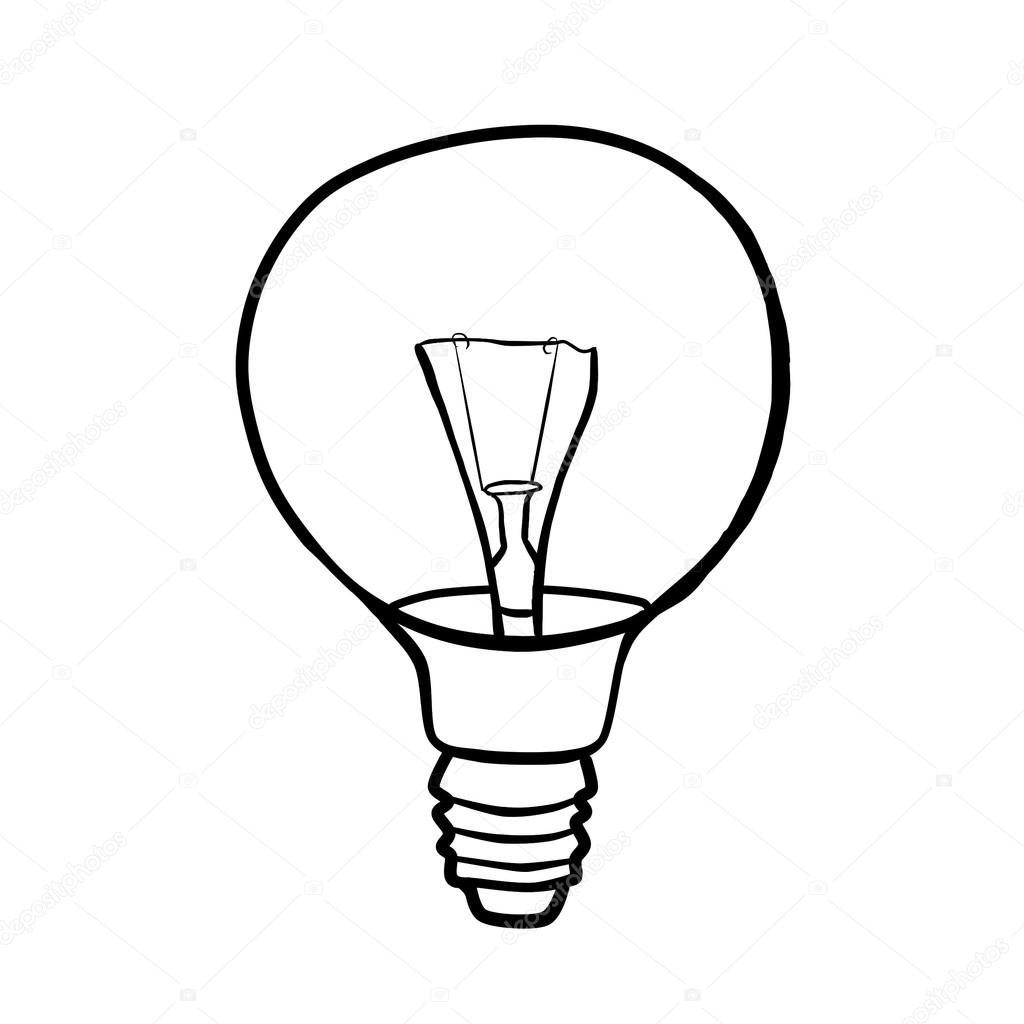 1024x1024 Round Light Bulb Filament. Contour Drawing. Stock Photo