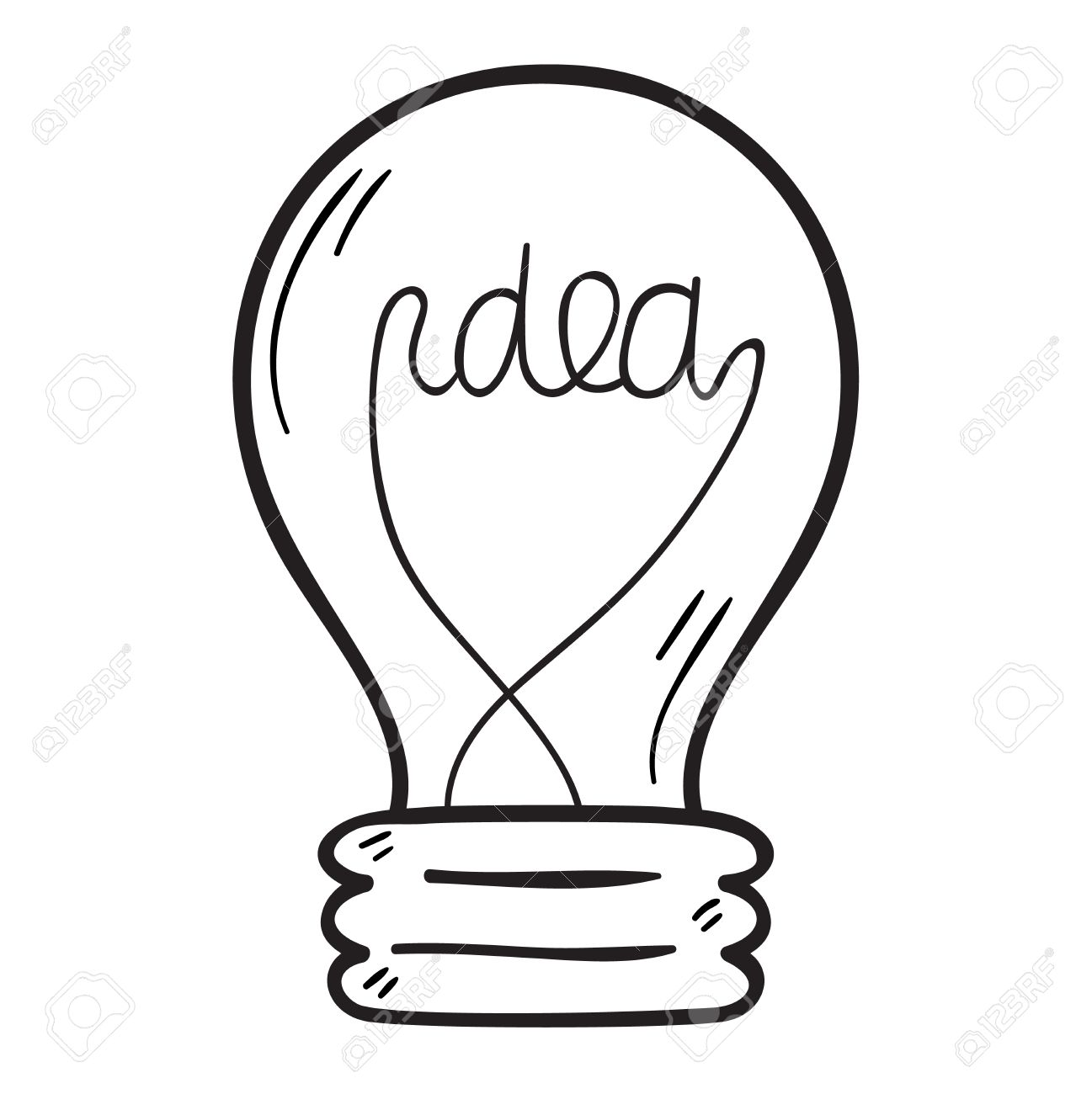1297x1300 Drawing Idea Light Bulb Concept Creative Design. Vector Idea Lamp