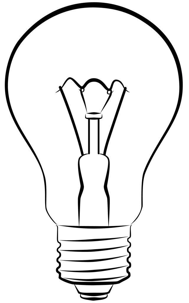 640x1024 Drawing Of Light Bulb Light Bulb Drawing Clipartsco