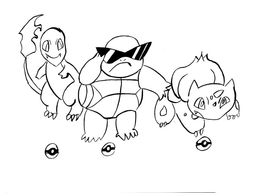 1024x744 Charmander Squirtle Bulbasaur Inks By Cartoonwatch