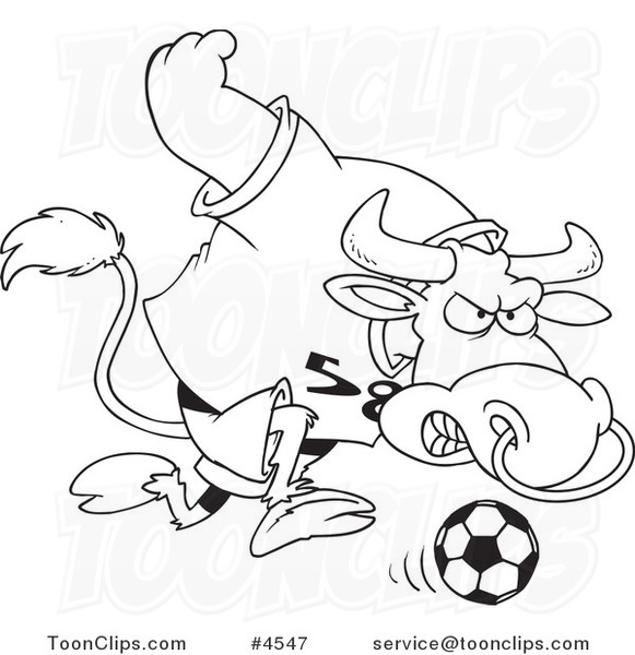 581x600 Cartoon Black And White Line Drawing Of A Soccer Bull