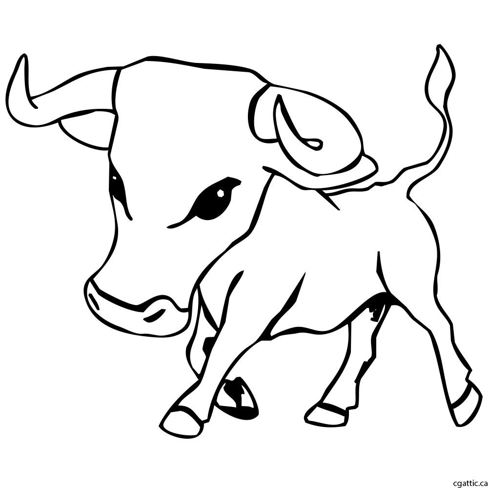1000x1000 Cartoon Bull Drawing In 4 Steps With Photoshop Cartoon And Drawings